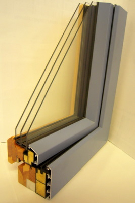 Fen tres mixtes bois et alumium 113 ou 123 mm for Fenetre triple vitrage aluminium